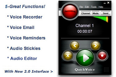 A feature-rich voice recorder with voice email and voice stickies.